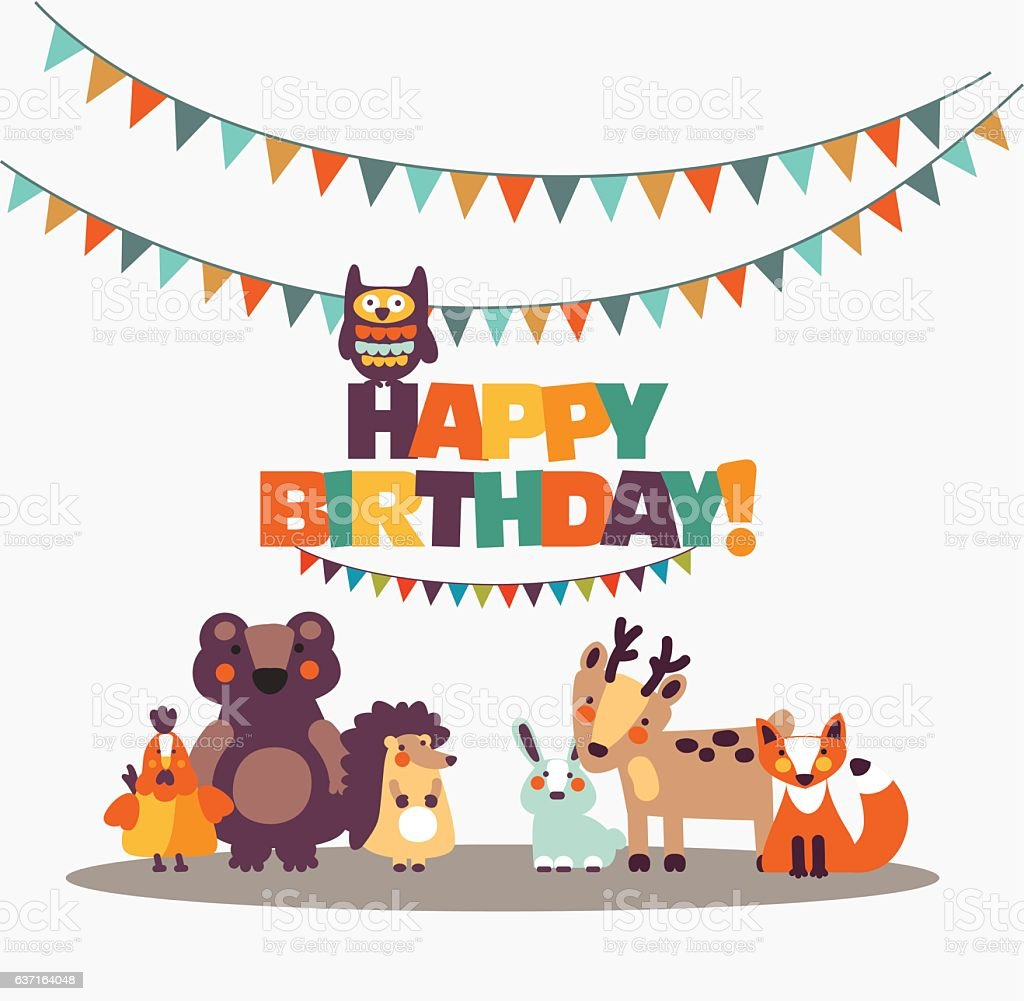 Happy Birthday Lovely Card With Funny Cute Animals And