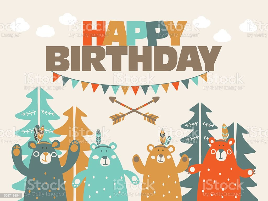 Happy Birthday Lovely Card With Funny Cute Bears And Garlands Royalty Free