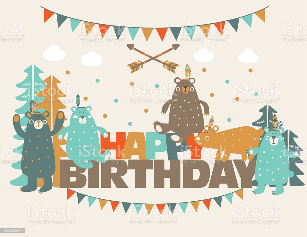 Happy Birthday Lovely Card With Funny Cute Bears And Garlands Stock