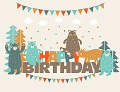 Happy Birthday! Lovely card with funny cute bears in forest