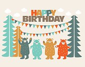 Happy birthday, lovely card with funny cute bears in forest