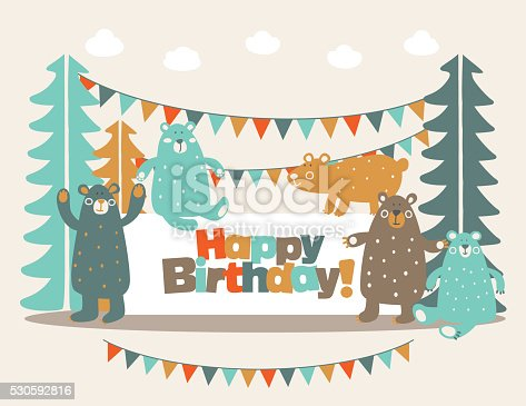 Happy Birthday Lovely Card With Funny Cute Bears In Forest