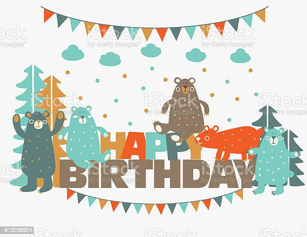 Happy birthday lovely card with funny cute bears in forest vector id613238924?b=1&k=6&m=613238924&s=612x612&h=mludmkopqdxk7aqlzb1pq8l8y4zj6sua66fyhs9v4pi=