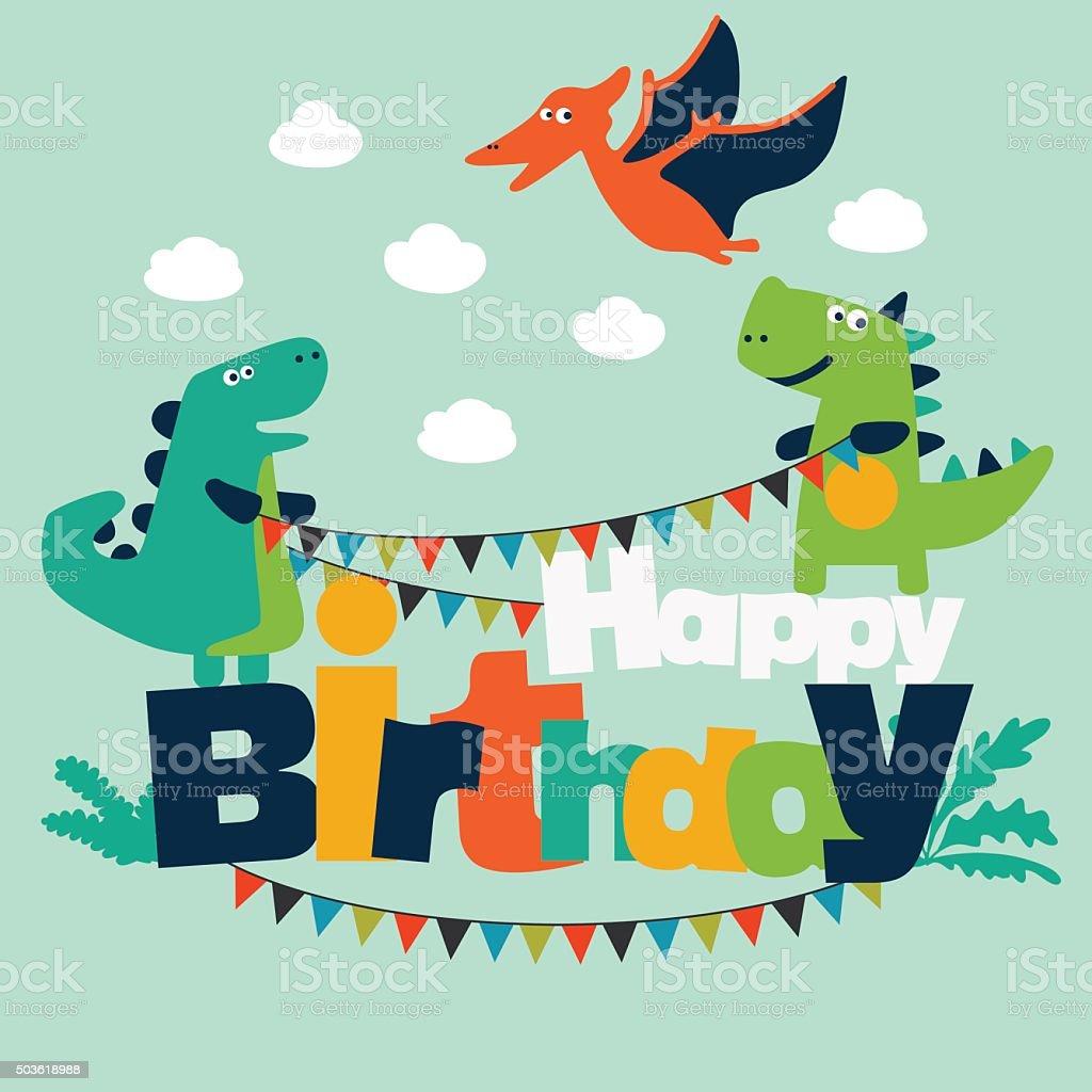 Joyeux Anniversaire Superbe Carte Avec Des Dinosaures Et De
