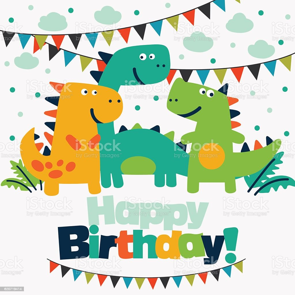 Happy Birthday Lovely Card With Funny Dinosaurs And ...