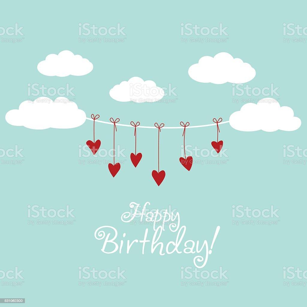 Buon compleanno-bella carta con cuori e nuvole - illustrazione arte vettoriale