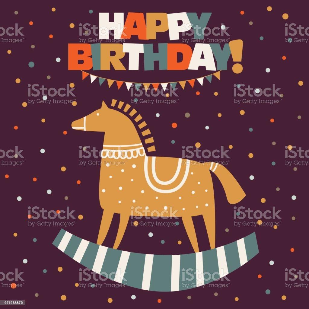 Alles Gute Zum Geburtstag Schone Vektor Karte Lustige Holz Pferd In