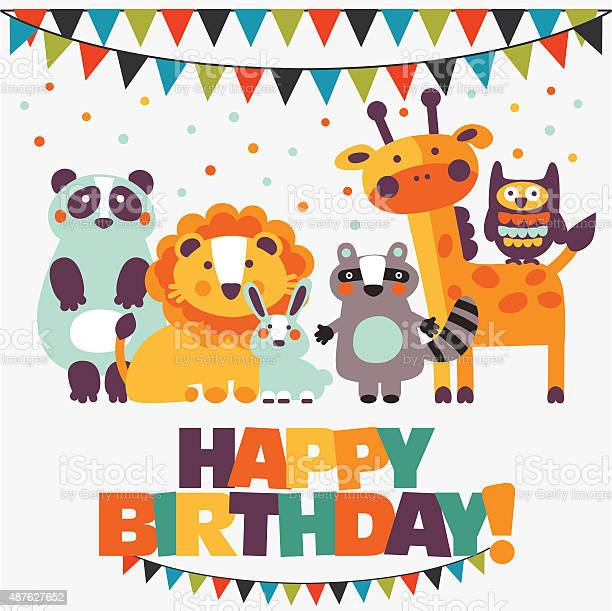 Happy birthday lovely vector card with cute animals and garlands vector id487627652?b=1&k=6&m=487627652&s=612x612&h=pqvkecsdrafwzh94k3m 2s03w400mknakiob3bajnz0=