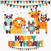 'Happy birthday ' lovely vector card with cute animals and garlands