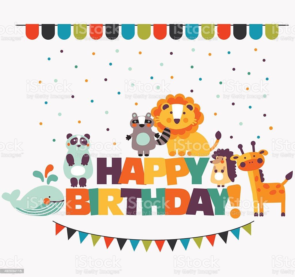 ハッピーバースデーツーユー素敵なベクトルカードかわいい動物と飾り