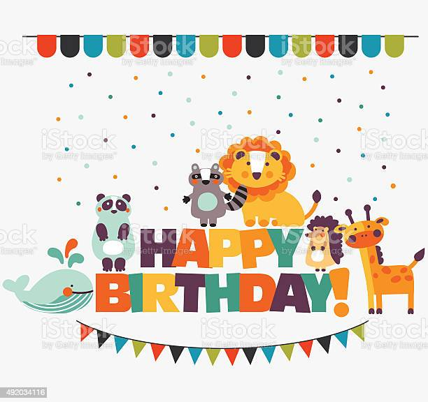 Happy birthday lovely vector card with cute animals and garlands vector id492034116?b=1&k=6&m=492034116&s=612x612&h=qucv7d90os3mzoocby3zo8wrw3teccisye4dohns07s=