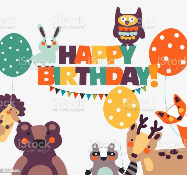 Happy birthday lovely vector card with funny cute animals and for vector id858338396?b=1&k=6&m=858338396&s=612x612&h=i089w7jujrfrdv66fqsyakiid nmitqzfn0awu8nrgk=