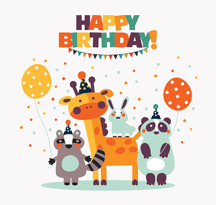 Happy birthday - lovely vector card with funny, cute animals, balloons and garlands