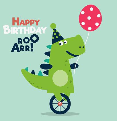 Happy birthday - lovely vector card with funny dinosaur