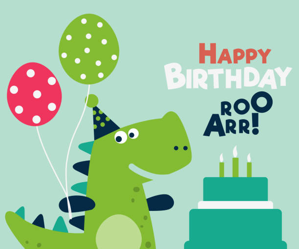 Happy birthday - lovely vector card with funny dinosaur Happy birthday - lovely vector card with funny dinosaur. Ideal for cards, invitations, party, banners, kindergarten, preschool and children room decoration baby boys stock illustrations