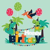Happy birthday - lovely vector card with funny dinosaurs, balloons and garlands. Ideal for cards, invitations, party, banners, kindergarten, preschool and children room decoration