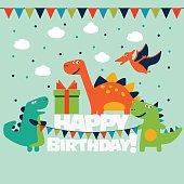 Happy birthday - lovely vector card with funny dinosaurs. Ideal for cards, logo, invitations, party, banners, kindergarten, preschool and children room decoration