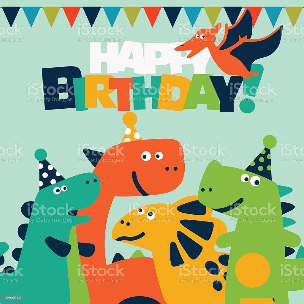 Alles Gute Zum Geburtstagschöne Vektorkarte Mit Lustige Dinosaurier