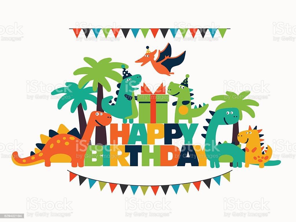 Buon compleanno-bella divertente carta vettoriale con i dinosauri - illustrazione arte vettoriale