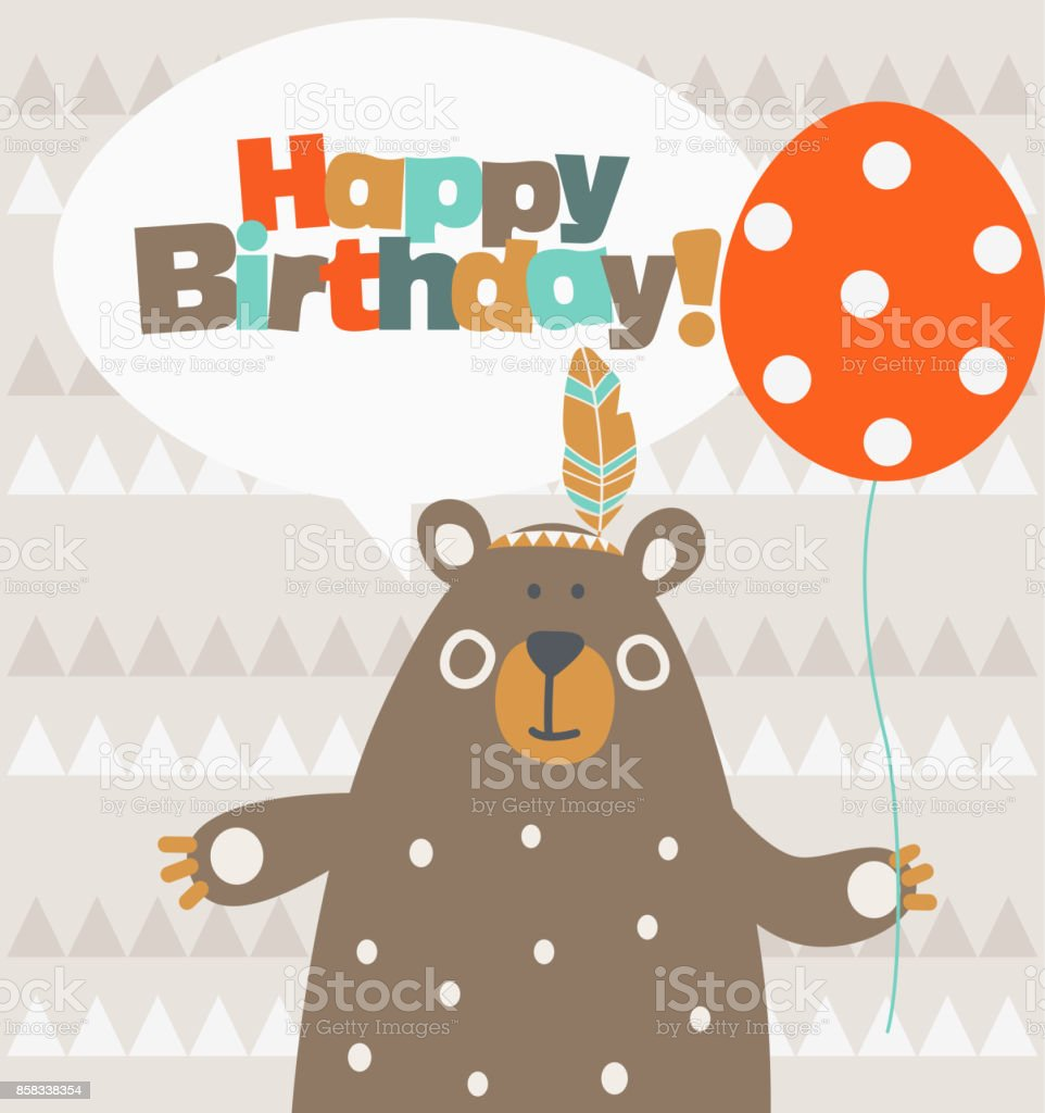Happy birthday - lovely vector card with funny Indian bear. Ideal for cards, invitations, party, banners, kindergarten, baby shower, preschool and children room decoration - illustrazione arte vettoriale