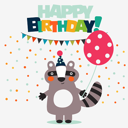 Happy birthday - lovely vector card with funny raccoon and balloon