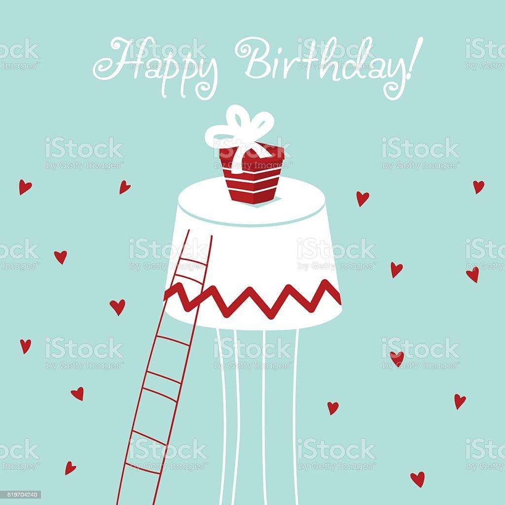 Buon compleanno-bella carta vettoriale con cuori e presente - illustrazione arte vettoriale