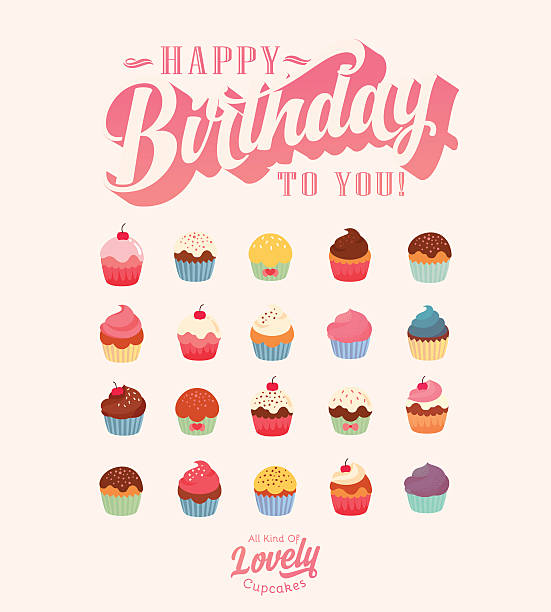 happy birthday - lovely vintage cupcake collection - cupcake stock illustrations, clip art, cartoons, & icons