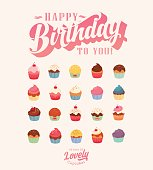 Happy Birthday - Lovely Vintage Cupcake Collection