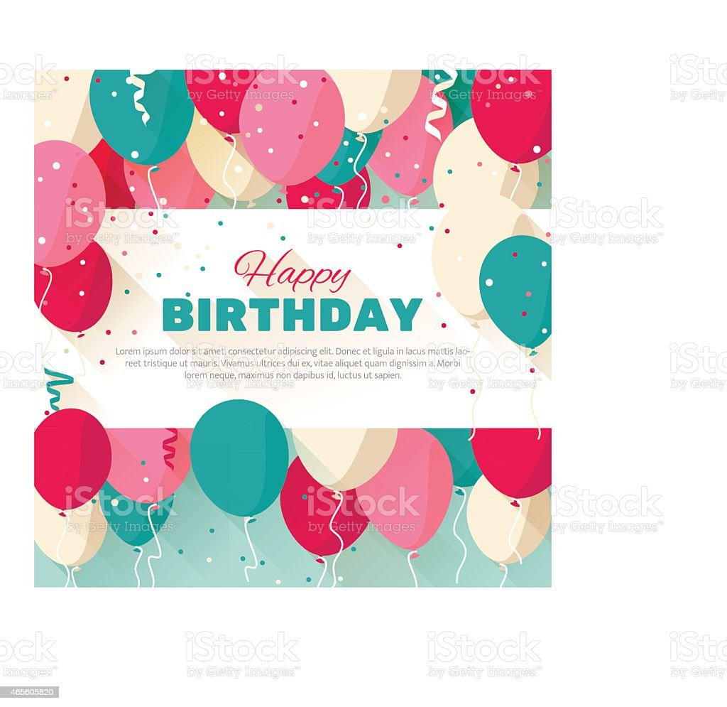 Happy Birthday Message Surrounded By Colored Balloons Royalty Free Happy  Birthday Message Surrounded By Colored