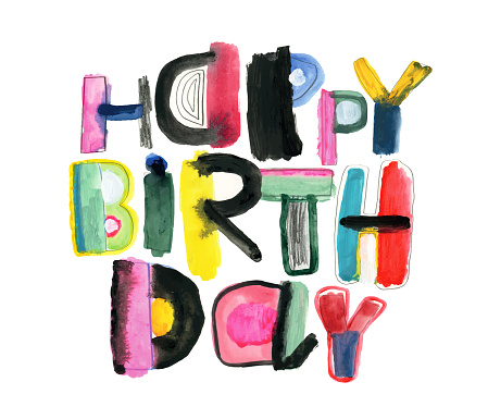 Happy Birthday message with painted letters