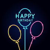 Happy Birthday, minimalistic linear poster in neon style
