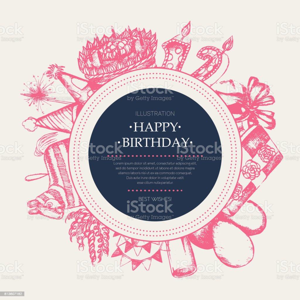 Happy Birthday - modern drawn round banner template. - illustrazione arte vettoriale