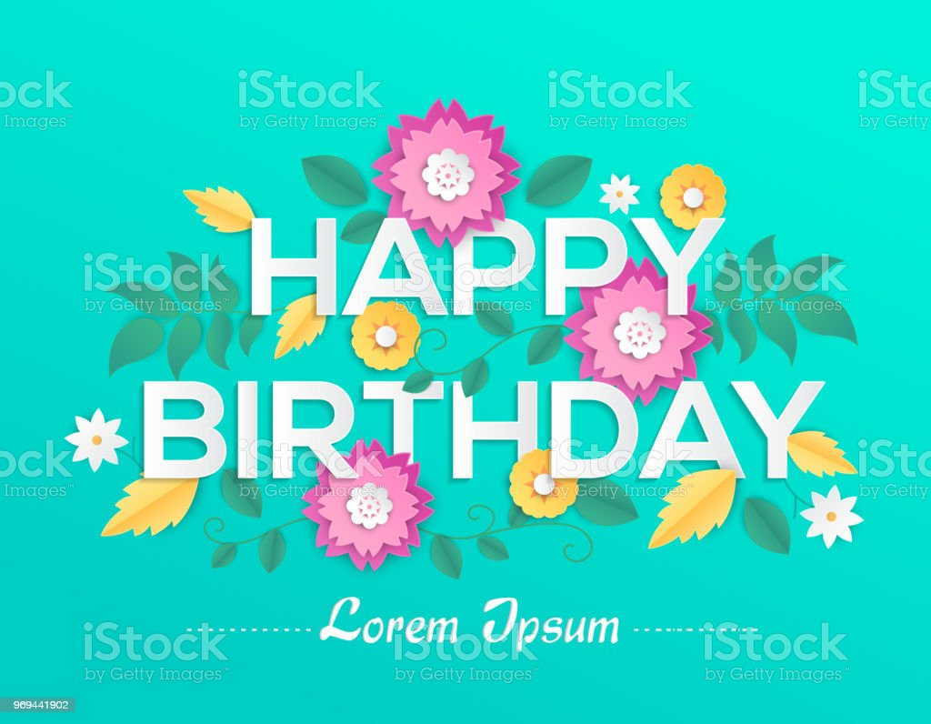 Happy Birthday Modern Vector Colorful Illustration Stock