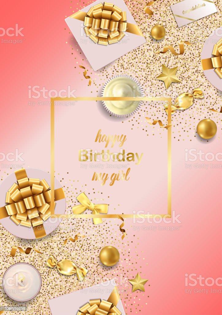 Joyeux Anniversaire Ma Fille Rose Greeting Card Vecteurs