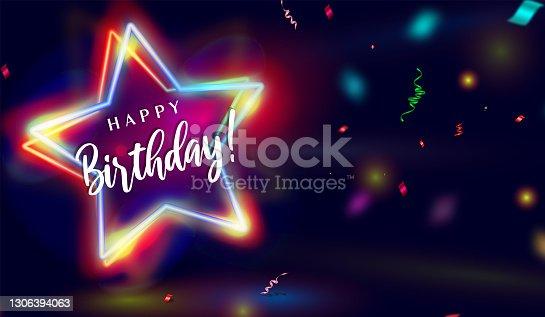istock Happy Birthday Neon Star effect Background with confetti. 1306394063