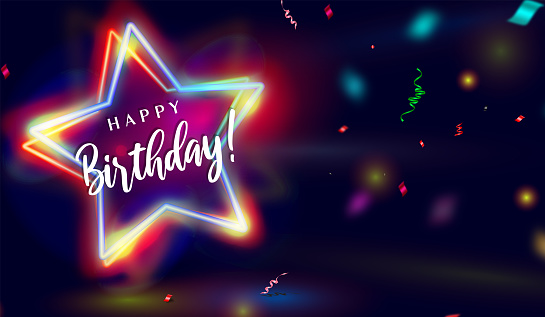 Happy Birthday Neon Star effect Background with confetti.