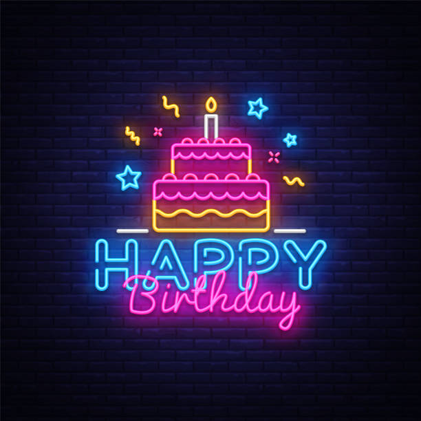Happy Birthday Neon Text Vector. Happy Birthday neon sign, design template, modern trend design, night neon signboard, night bright advertising, light banner, light art. Vector illustration vector art illustration