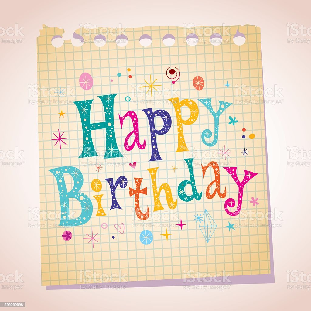 Happy Birthday note paper message royalty-free happy birthday note paper message stock vector art & more images of birthday