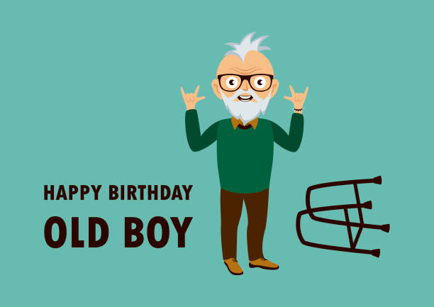 happy birthday old boy vector - old man glasses silhouettes stock illustrations, clip art, cartoons, & icons