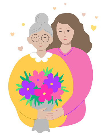Happy birthday or mother's day greeting card. A daughter congratulates her elderly mother or grandmother. A woman hugs an old lady with a bouquet of flowers. Flat style. Isolated on a white. Vector.