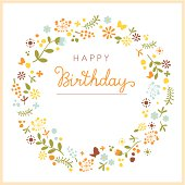 Happy Birthday greeting card with lettering and floral wreath. White background and copy space for the text. Global colors used - easy to change color.