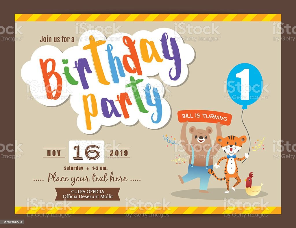 happy birthday party card design template お祝いのベクターアート