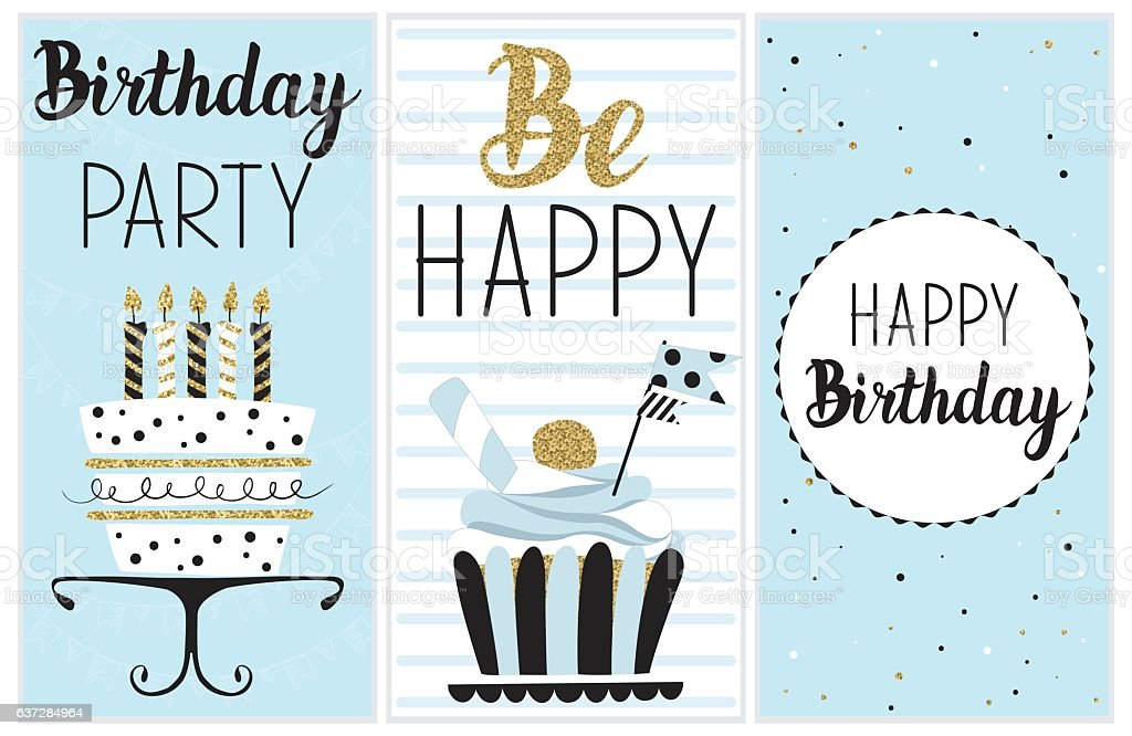 Happy Birthday Party Cards Set Lizenzfreies Stock Vektor Art Und Mehr