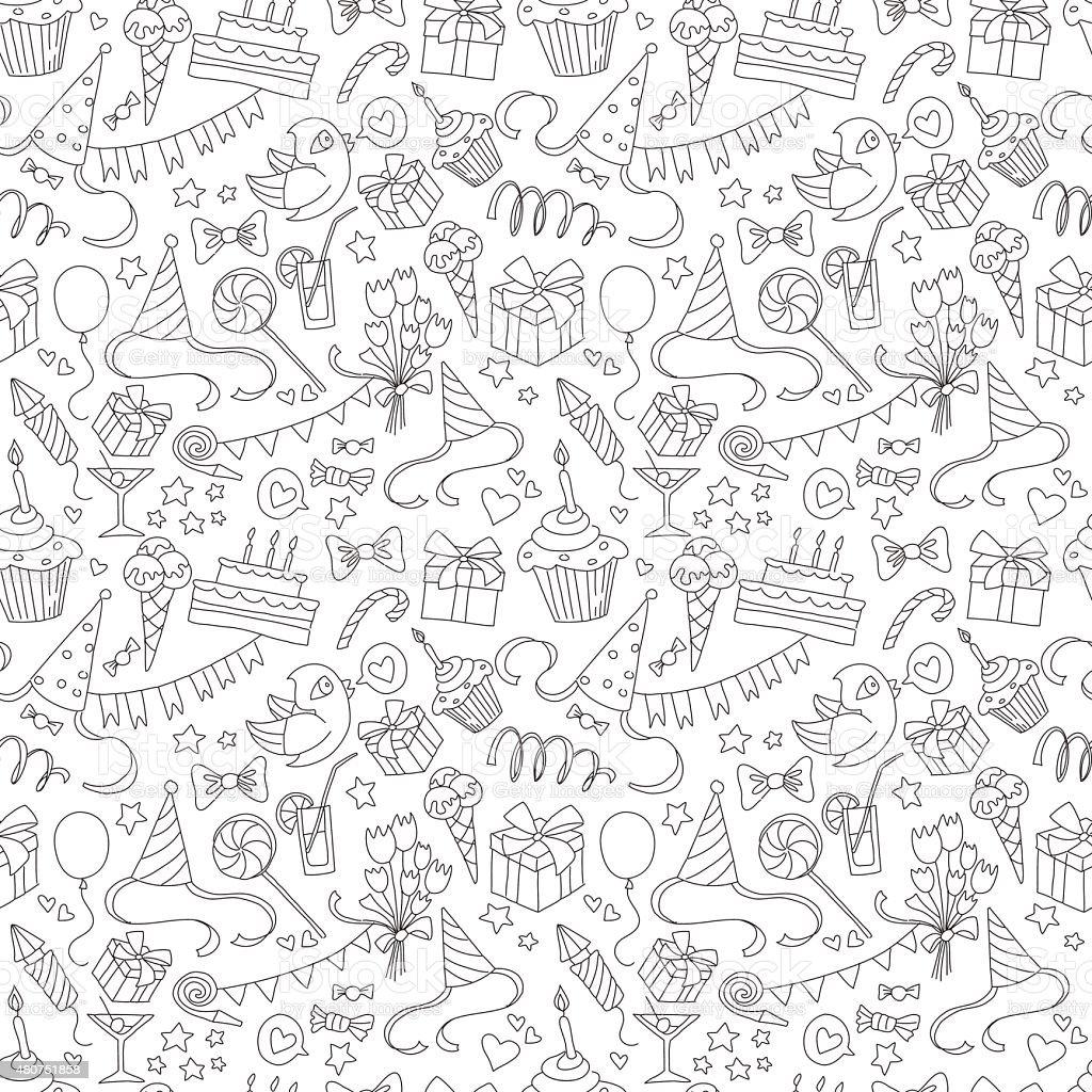 Szczęśliwy urodziny party Bazgroły bezszwowe czarny i biały wzór - Grafika wektorowa royalty-free (2015)