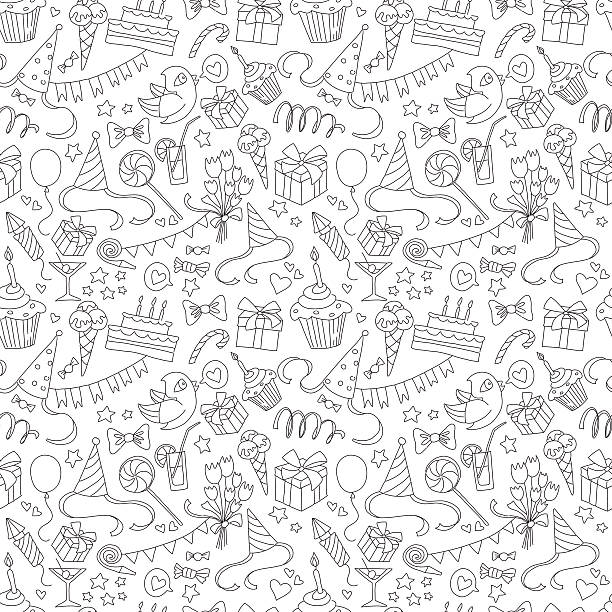 Happy birthday party doodle black and white seamless pattern Vector illustration Happy birthday party doodle black and white seamless pattern birthday designs stock illustrations