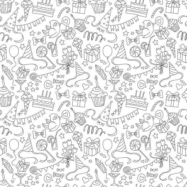 szczęśliwy urodziny party bazgroły bezszwowe czarny i biały wzór - holiday background stock illustrations