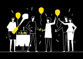Happy birthday party - flat design style illustration. Black, white and yellow composition with people, male and female friends, colleagues celebrating, opening champagne. Images of a cake, balloons