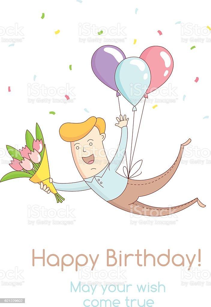 Happy Birthday Party Greeting Card Invitation Funny Kid Flying Balloons Lizenzfreies Vektor Illustration