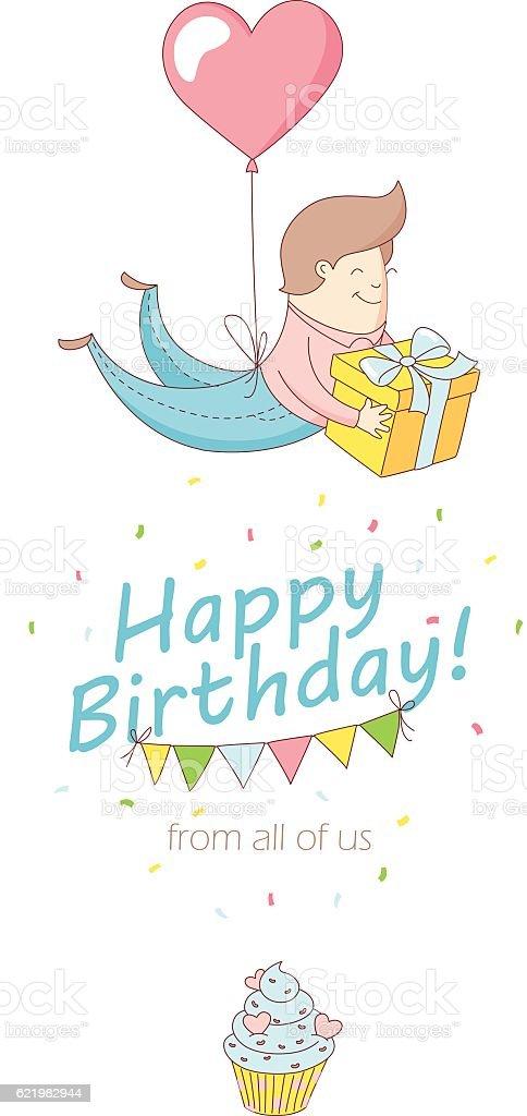 Happy Birthday Party Greeting Card Invitation Funny Kid Flying Balloon Royalty Free