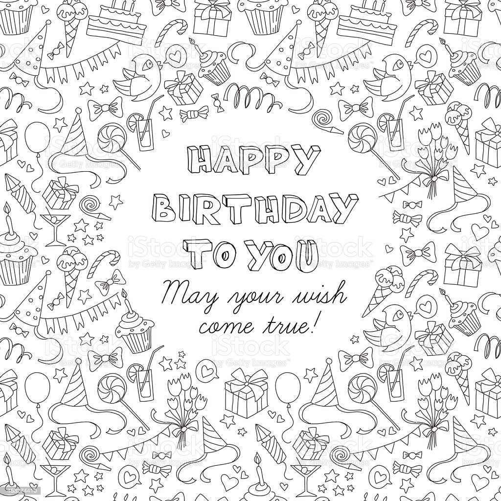 Happy birthday party greeting card with hand drawn pattern vector art illustration